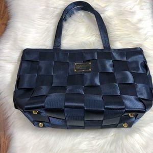 Navy blue basket weave bag